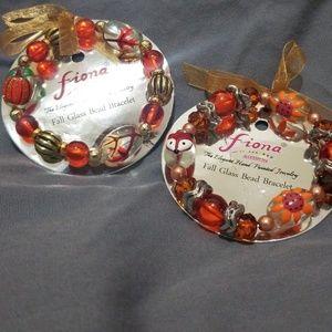 Jewelry - 2 Hand-painted Fall Glass Bead Bracelets 🍁🍂🍃